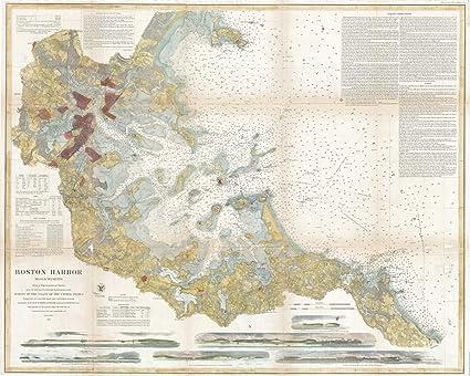 Antique Boston Map.Amazon Com Historical 1867 U S Coast Survey Chart Or Map Of Boston