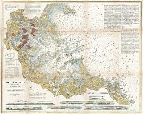 Amazoncom Historical US Coast Survey Chart Or Map Of Boston - Antique boston map