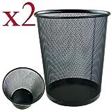 Zuvo Lightweight and Sturdy Circular Mesh Waste Bin, Black, Pack of 2