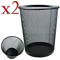 Zuvo Lot de 2 corbeilles à papier rondes et légères en maille robuste Noir