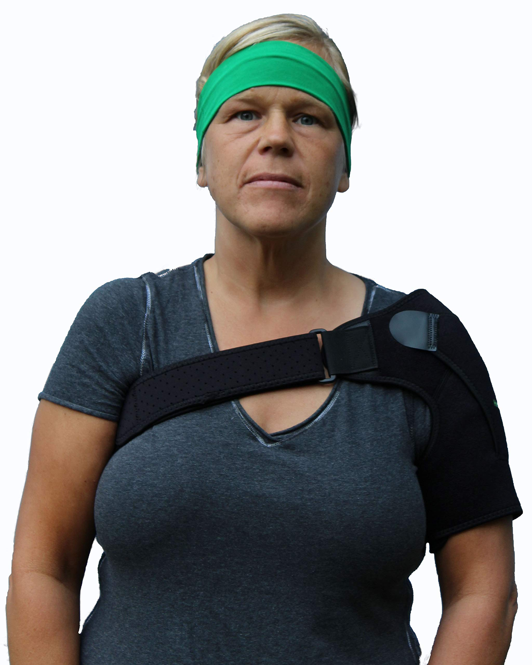 Shoulder Stability Brace By Healthy Kar - Lightweight Universal Support For Men and Women - Stabilizer for Rotator Cuff, AC Joint Dislocation, Bursitis, Labrum Tear - Sports Injury Postural Correction