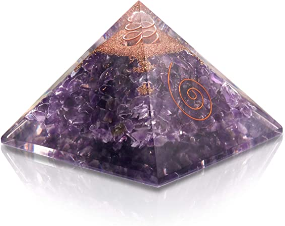 Natural Crystal Orgone Pyramid Opalite Crystal Energy Generator EMF Protection Reiki Healing Chakra Pyramid