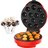 VonShef Cake Pop Maker 12 Hole, Red, 50 Paper Sticks, 50 Ribbons and 50 Plastic bags + Twist Ties, 12 Hole Stand and Icing Injector