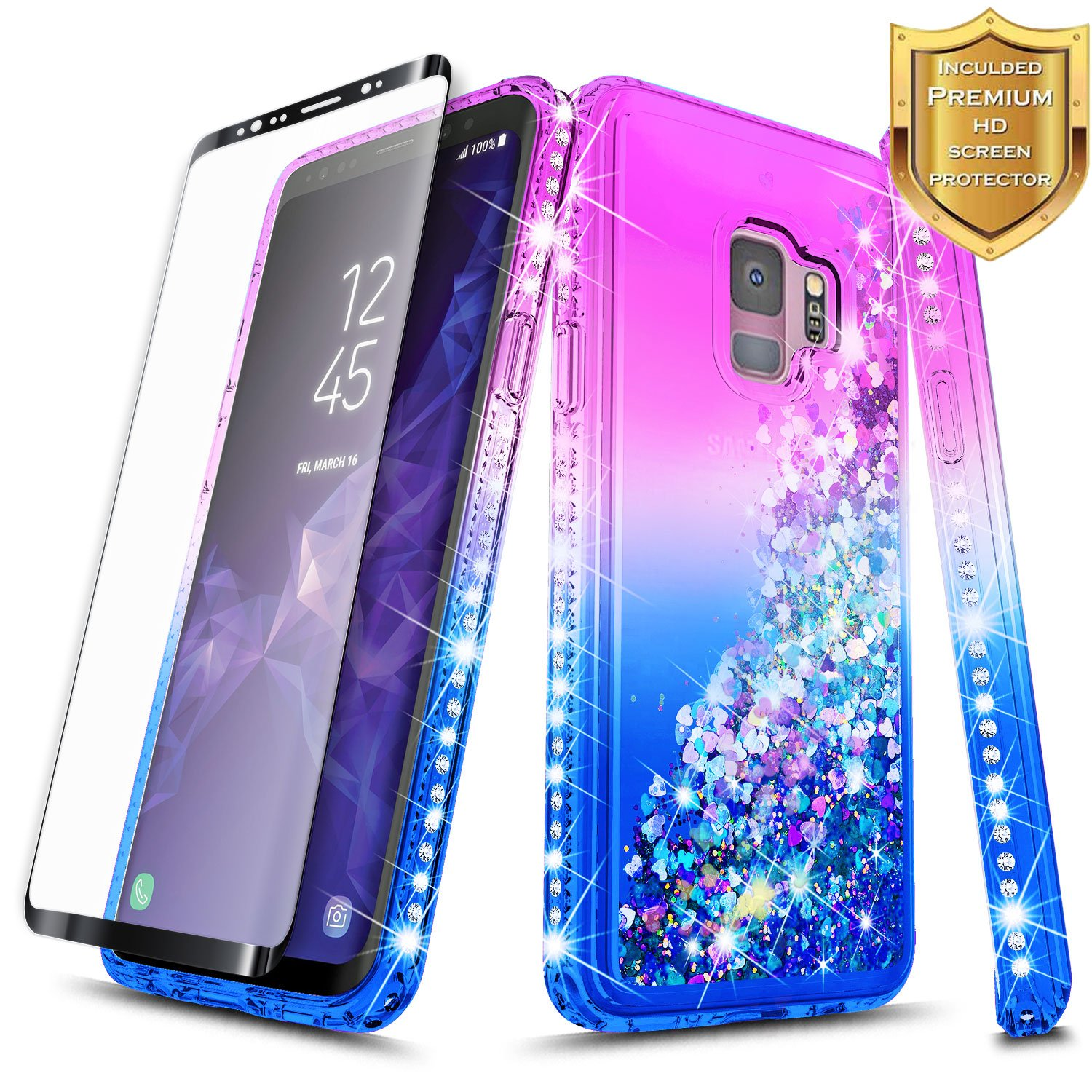 Galaxy S9 Case w/[Full Coverage Screen Protector HD Clear], NageBee Glitter Quicksand Liquid Floating Shiny Sparkle Flowing Bling Diamond Girly Clear Soft Cute Case For Samsung Galaxy S9 -Purple/Blue