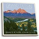 Grand Teton National Park, Wyoming - Snake River Overlook (Set of 4 Ceramic Coasters - Cork-backed, Absorbent)