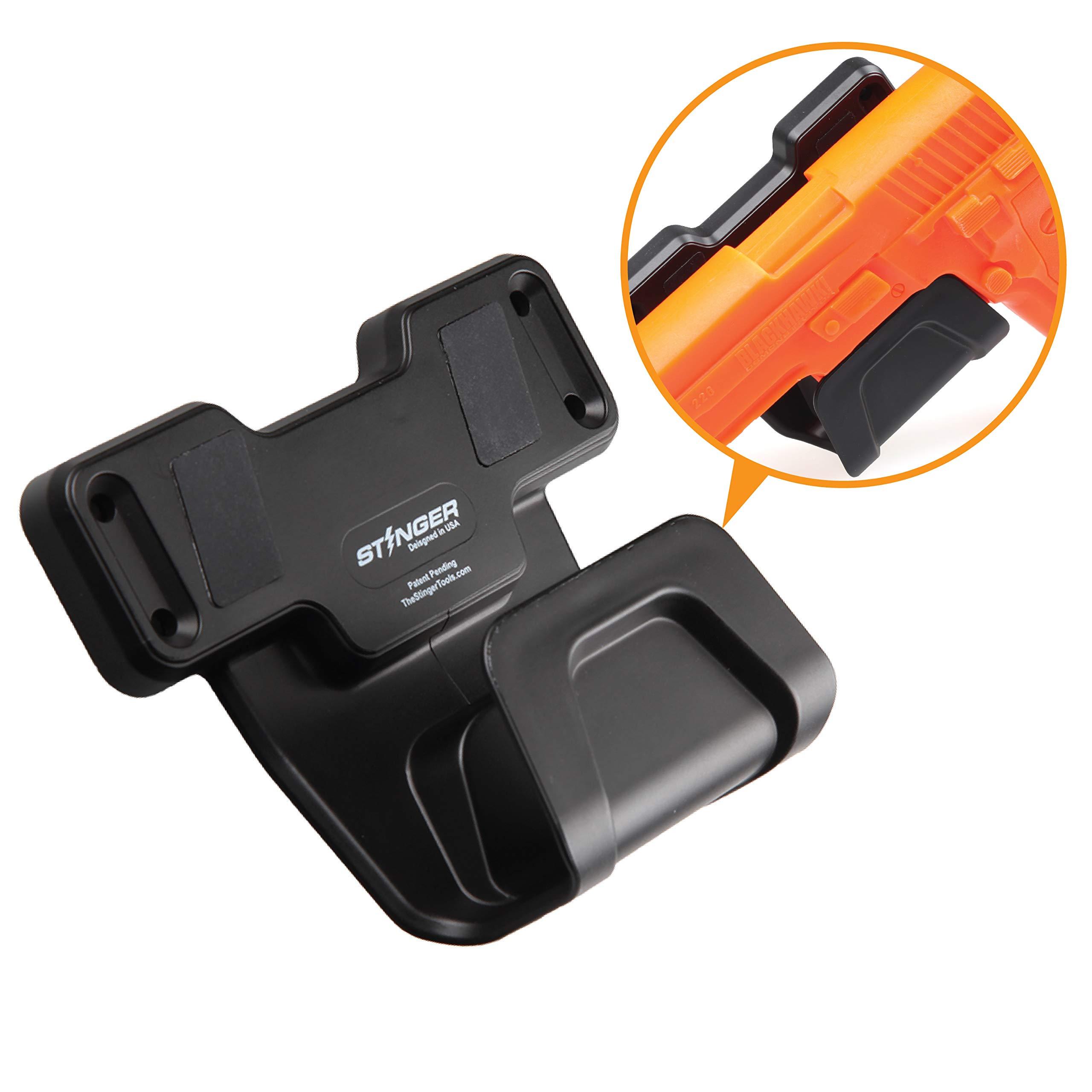 Stinger Safety Trigger Guard Protection Magnetic Gun Holder, Easy Conceal in Car, Truck, Vehicle, Desks, Safes, Walls, Handgun Rifle Shotgun Pistol Revolver, Gun Mount Rack (Black Color 1 Pack) by Stinger