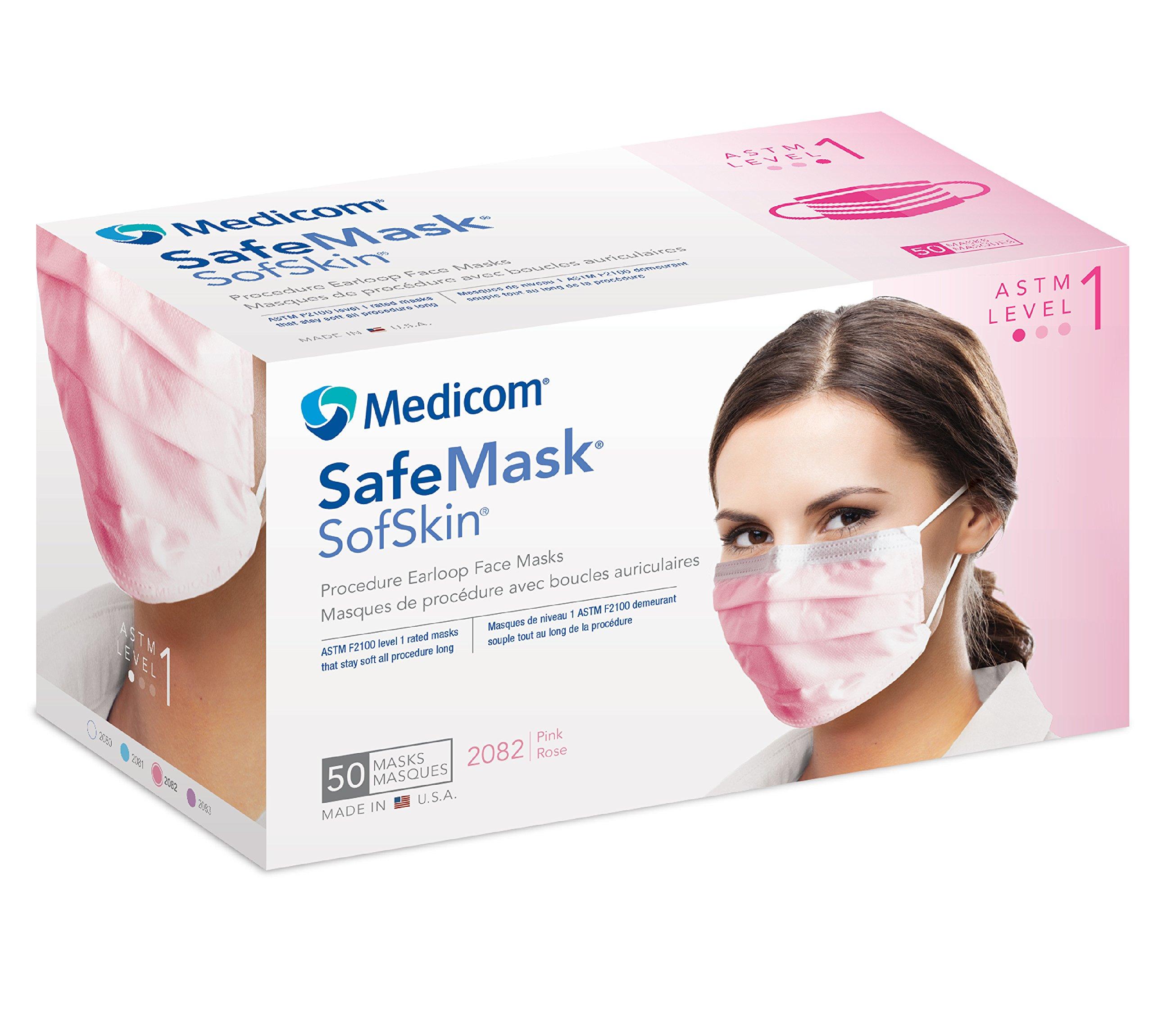 Medicom ME-2081 SafeMask SofSkin Earloop Mask, Shape, (Pack of 500)