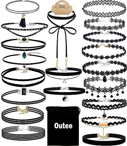 Outee 20 PCS Black Charm Choker Set Velvet Choker Necklaces for Women Girls iQlGag