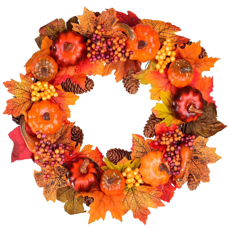 Fall Wreath Front Door Wreath with Maple Leaf,Pumpkin Pine Cone,Berries Garland Harvest Wreath for Halloween and Thanksgiving Home Indoor or Outdoor Arrangement Decoration,15inch