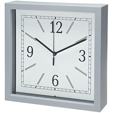 Bernhard Products - Square Wall Clock 9  Gray Wall Clock/Desk Clock, Quality Quartz Battery Operated for Home/Kitchen/Office/Bedroom