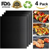 Grill Mat Set of 4, Heavy Duty 100% Non-stick BBQ Grill, Durability reused and easy to clean, FDA-Approved, Healthy Barbecue with Works on Gas , Charcoal , Electric Grill and More Oven - 16 x 13 Inch