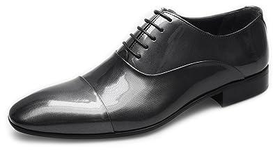 96a6acc36bf6 Pablo Cassini Herren Smoking Schuhe Oxford Lack Leder Hochzeitsschuhe Grau  Silber Hochglanz (41)