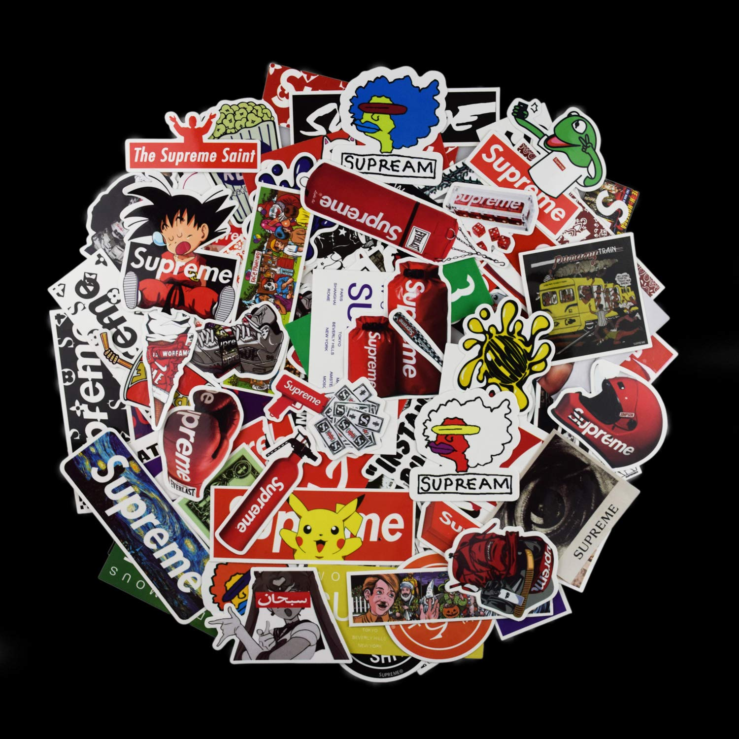 Supreme stickers pack konloy cool stickers 104 pcs fashion laptop car stickers for snowboard motorcycle bicycle phone computer diy keyboard car window