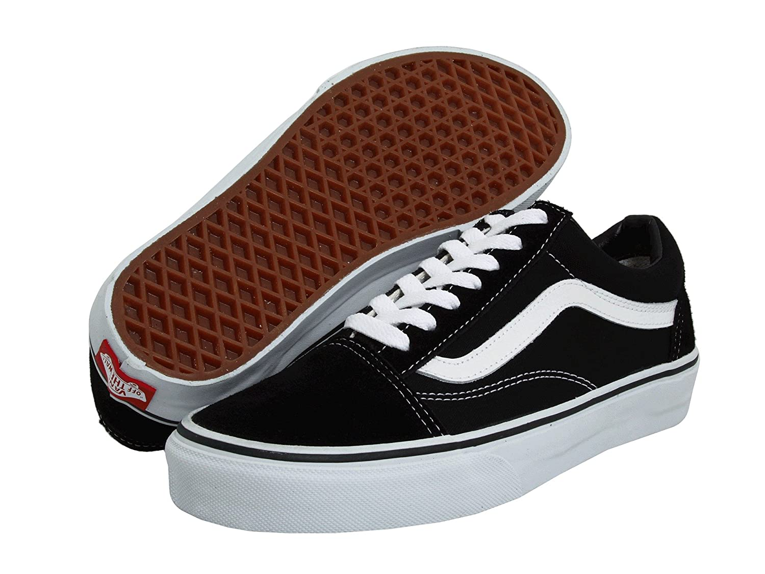 Vans Unisex Old Skool Classic Skate Shoes B075W7K3QV 13.5 B(M) US Women / 12 D(M) US Men|(Canvas) Black/White