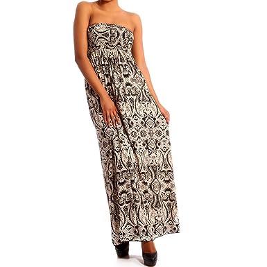 Young-Fashion Damen Maxikleid Hippie Bandeau Long Dress, Farbe Beige  2 Mehrfarbig Größe One Size  Amazon.de  Bekleidung dfb370a01f