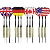 Steel Tip Darts - 12 Pack with Aluminum Shafts, Brass Barrels and National Flight Flags - United States, Canada, Germany, England - Professional or Beginner Throwing Darts