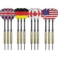 Dardos de punta de acero, 12 unidades, con ejes de aluminio, barriles de latón y banderas de vuelo nacionales – Estados Unidos, Canadá, Alemania, Inglaterra – Dardos de lanzamiento profesionales o principiantes