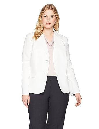 82d7fd2232f Nine West Women s Plus 2 Btn Sb Notch Collar Linen JKT with Cuff at Amazon Women s  Clothing store