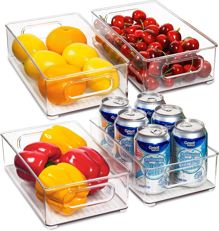 Ecowaare Pantry Storage Organizer Bins, 4 Pack Clear Stackable Food Storage Bins for Refrigerator, Freezer,Cabinet,Kitchen Organization and Storage, BPA Free, 10x 6 x 3 inches