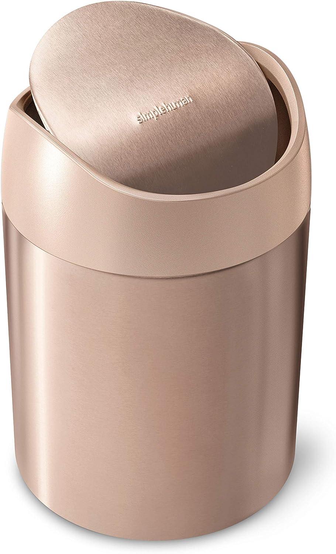 simplehuman, Rose Gold Stainless Steel 1.5 Liter / 0.4 Gallon Mini Countertop Trash Can