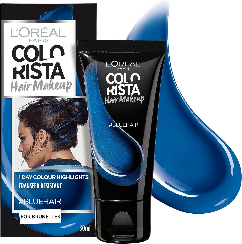 Colorista Hair Makeup Temporal Morena Color de Cabello Azul