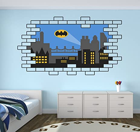 Batman Gotham City Wall Decal Baby Boy Kids Decor Personalized Nursery Gift  Vinyl Art Part 98