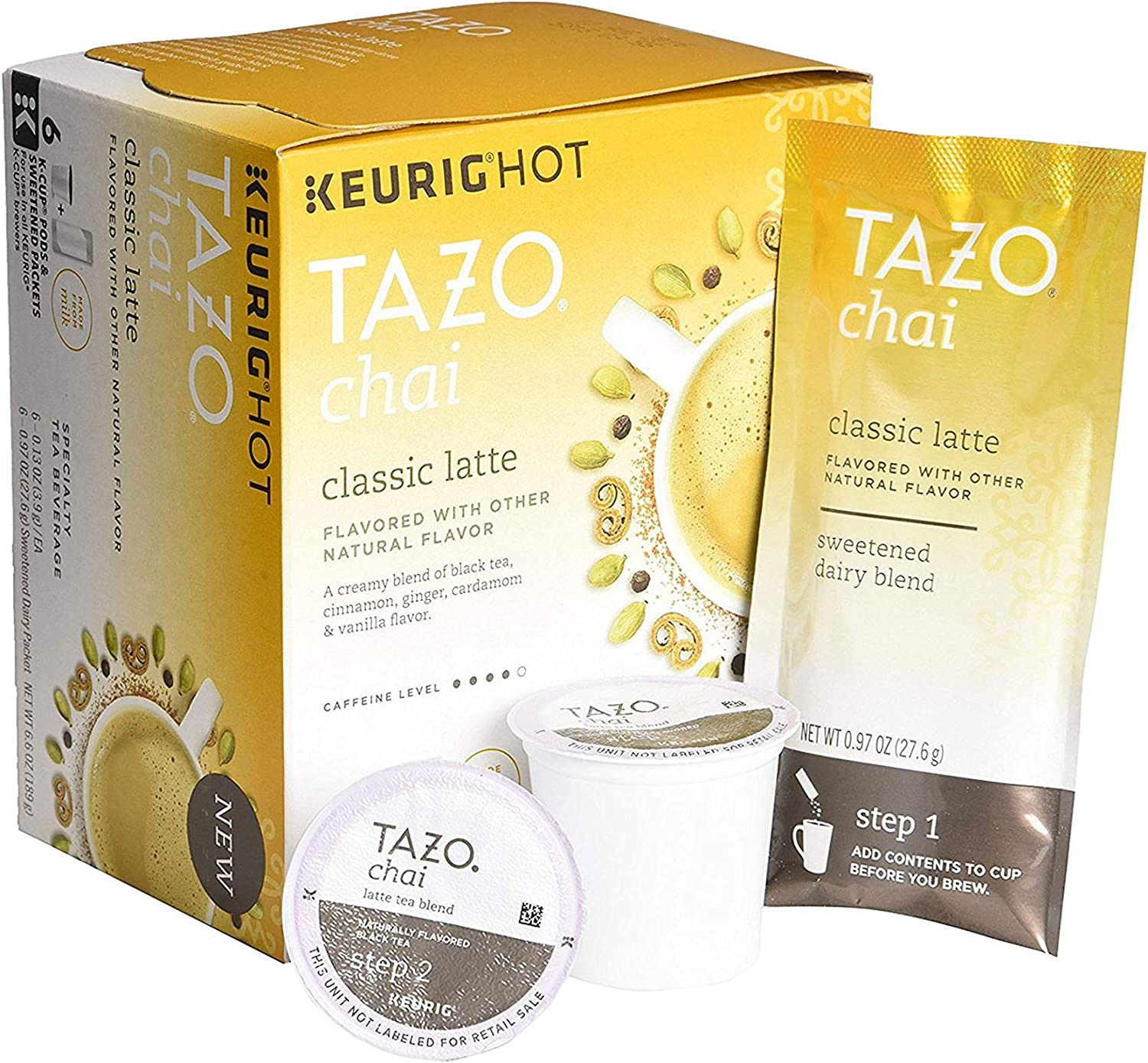 Tazo Chai Classic Latte Tea 6 Keurig K-Cups + 6 Froth Packets (Packaging May Vary)