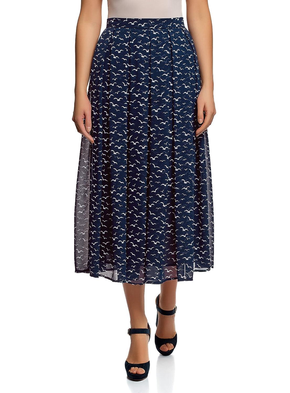 oodji Collection Mujer Falda con Pliegues de Tejido Fluido: Amazon ...