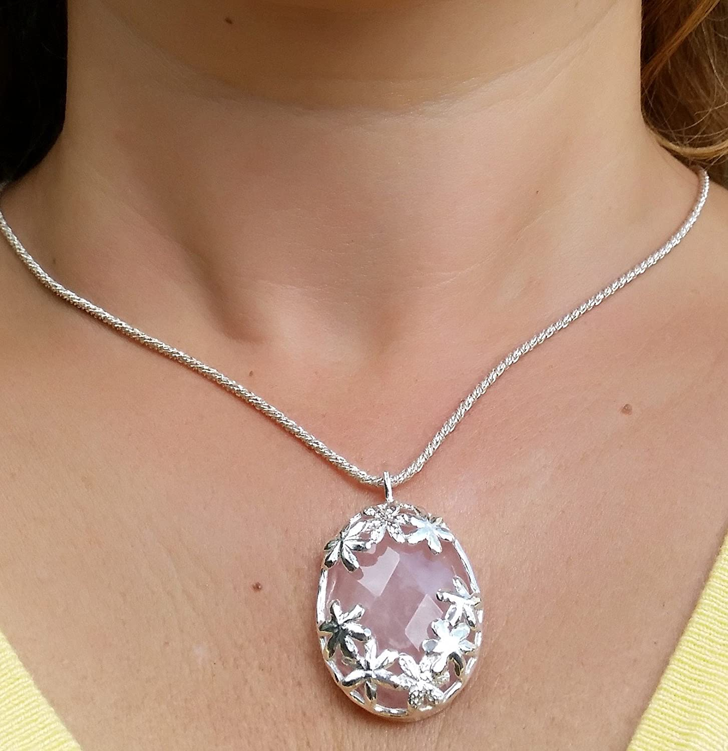 Natural Rose Quartz Gemstone Handcrafted Pendant Cabochon Oval Stone Boho Pendant,925-Sterling Silver Pendant,Gift For Her Etsy Cyber-2019