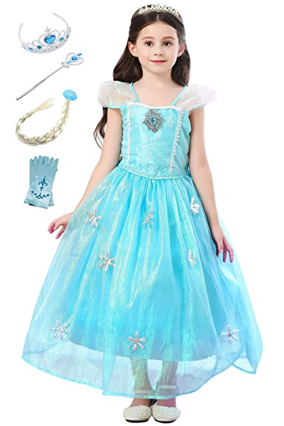 YOSICIL Niñas Vestido de Princesa Elsa con Capa Largo con ...