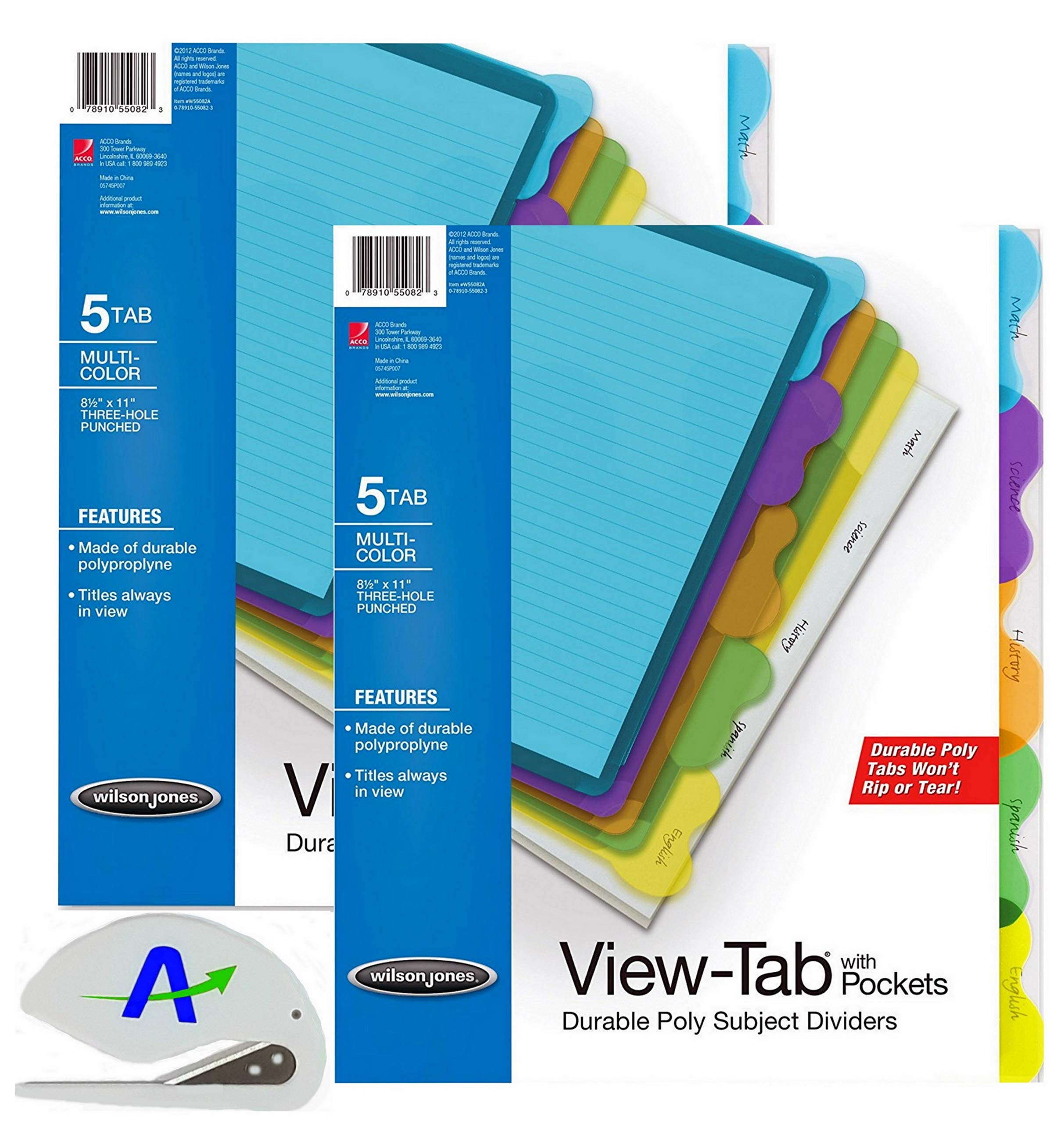 Wilson Jones View-Tab Transparent Dividers, Student Index with Pockets, 5-Tab Set, Multicolor Tabs, 2 Sets of 5 Plus Bonus AdvantageOP Letter Opener (W55082)