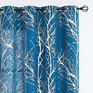 Metallic Tree Sheer Curtains Living-Room Silver Foil Branch Print Navy-Blue Curtains 84 inches Linen Texture Semi-Sheers for Bedroom Window Treatment Set Grommet Top, 2Panels