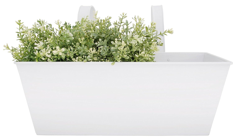 Esschert Design RD24 40 x 26.5 x 23.3cm Metal Rectangular Balcony Flower Pot - White