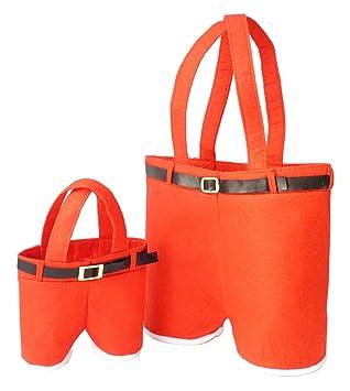 Bolsa de Regalo Pantalones de Santa - Paquete de Dos - 1 Grande para Vino o Champán y 1 Pequeño para Sorpresas - Roja: Amazon.es: Hogar
