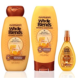 Garnier Hair Care Whole Blends Honey Treasures Repairing Hair Care with Shampoo, Conditioner, and Miracle Nectar 10-in-1 Treatment, For Damaged Hair, Paraben Free 1 Kit