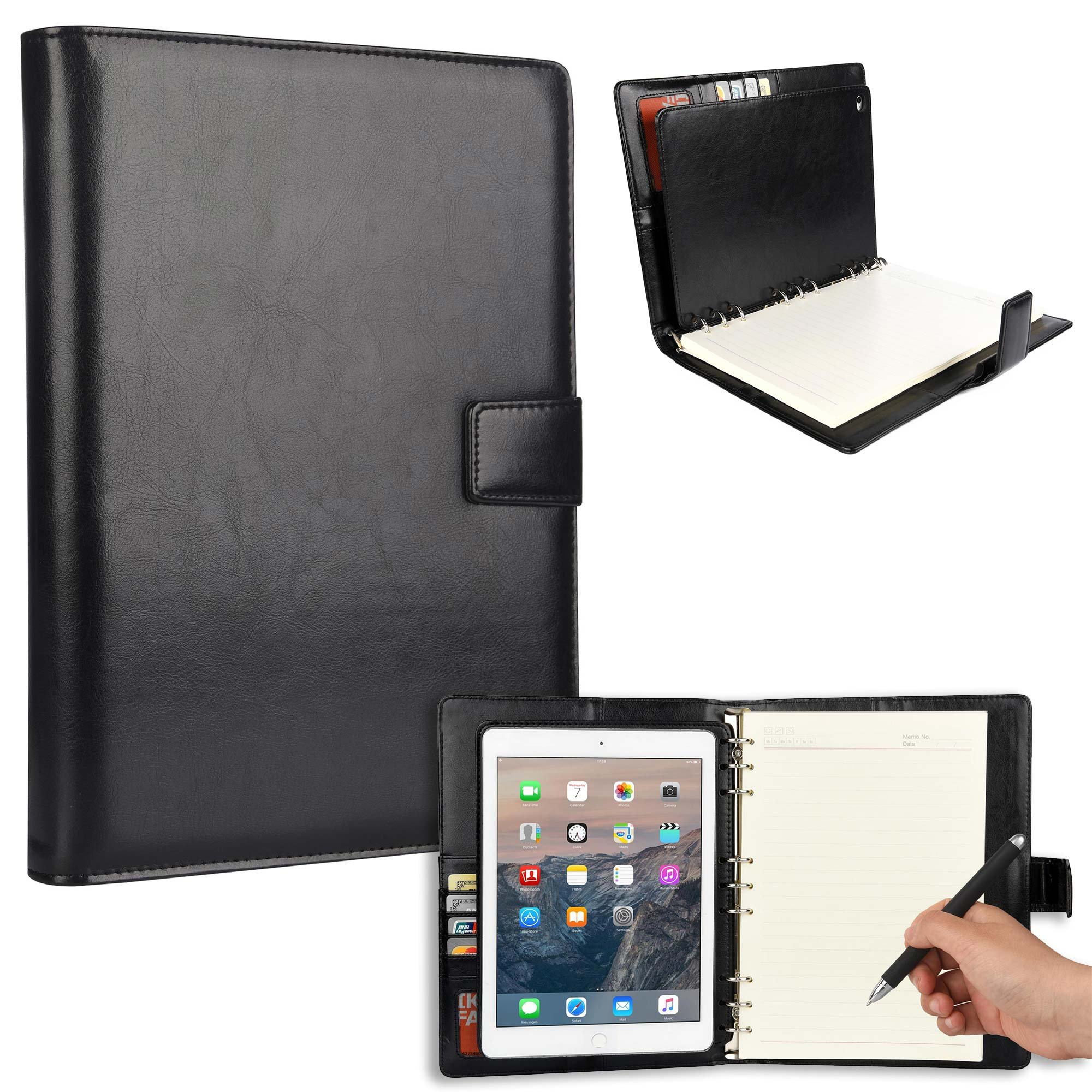 Cooper FOLDERTAB Padfolio Case Compatible with iPad Air 2 | Business Executive Organizer with Notepad | Vegan Leather, Left & Right Handed Binder, Notebook Refill, Pockets | Apple A1566 A1567 (Black)
