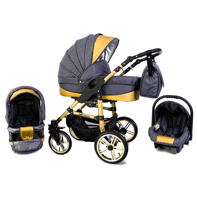 3 in 1 Kombi Kinderwagen Hartgummi Blue Tabbi ECO X GOLD
