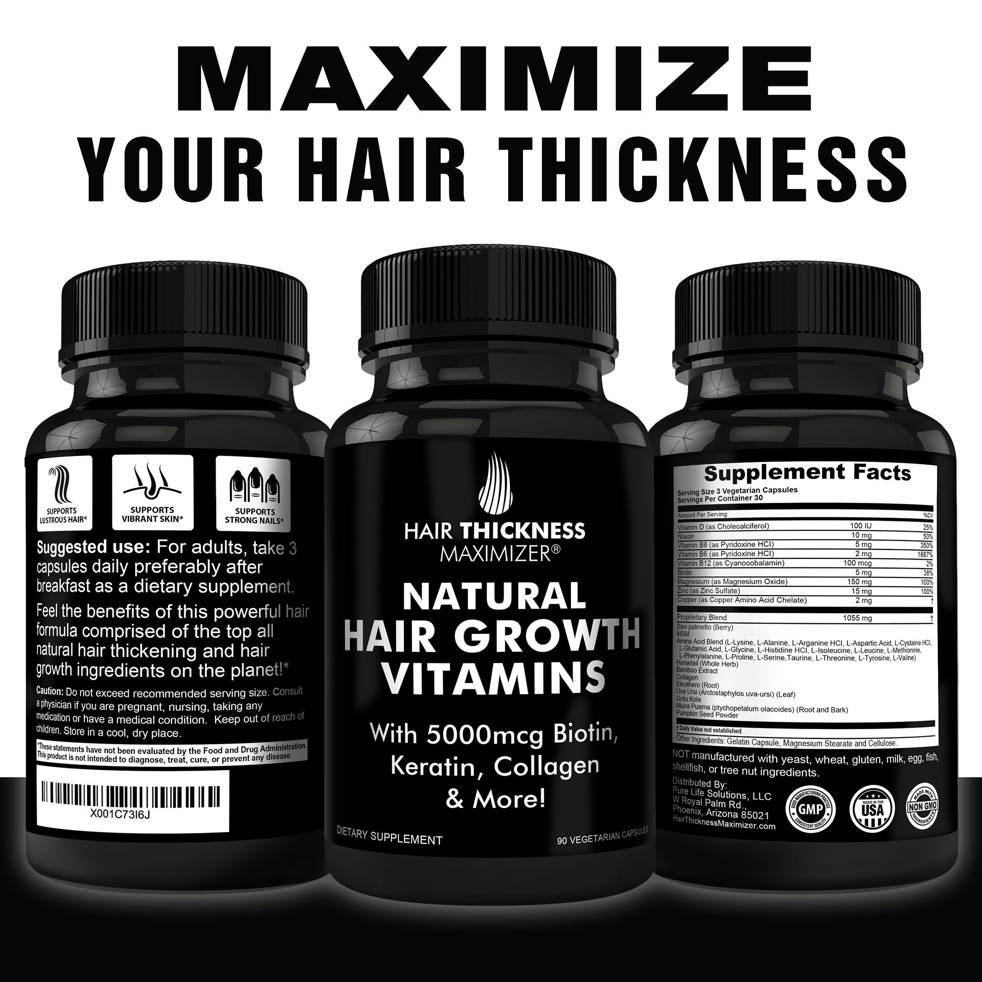 BEST Hair Growth Vitamins GUARANTEED. Stop Hair Loss NOW by Hair Thickness Maximizer. Natural Hair Growth Vitamins for Stronger, Thicker Hair. MADE IN USA. SAFE Vegetarian | With Biotin, Horsetail Ext by Hair Thickness Maximizer (Image #6)
