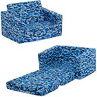 Delta Children Cozee Flip Out Chair - 2-in-1 Convertible Chair to Lounger for Kids, Blue Camo