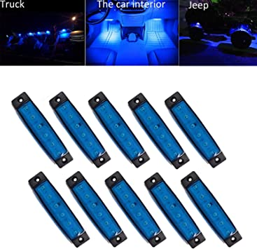 Cab,RV,SUV NBWDY 10 Pcs Blue Led Rock Lights,Wheel Well Lights,3.8 Sealed Led Underglow Kit for Jeep,Snowmobile,Truck,Golf Cart,Lorry,RV,Camper HGV,Offroad