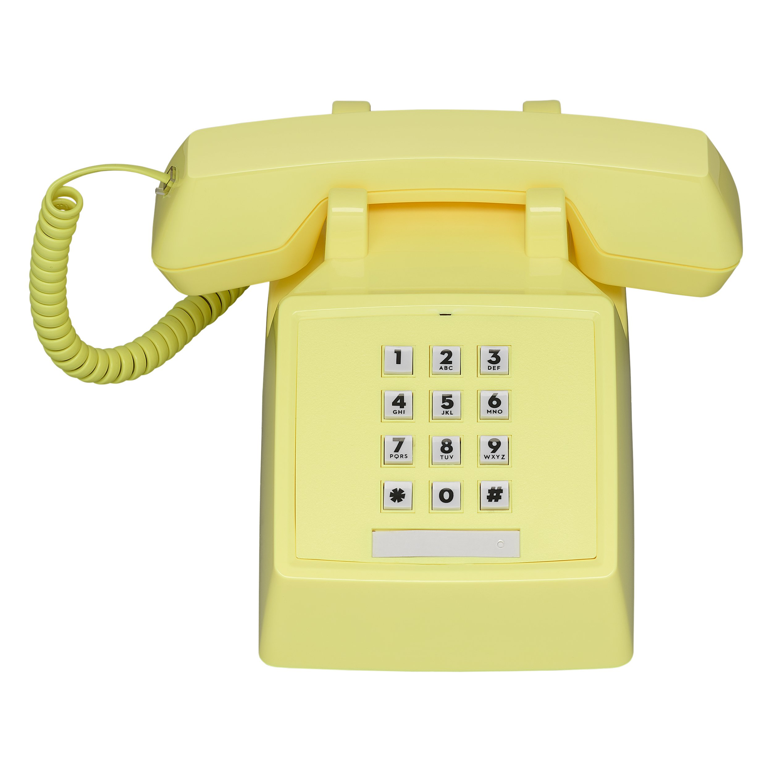 Wild Wood 2500 Classic Retro 1980s Style Corded Landline Phone with Push Buttons, Lemon Sorbet by Wildwood