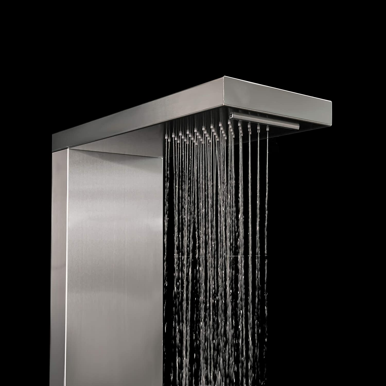 rain Shower and Hand Shower,100 x 14 x 7 cm Mini-Design for Wellness and Shower Pleasure in Your own Bathroom Elbe Shower Panel Column Tower Stainless Steel 304 Without tap,2 x Massage Jets