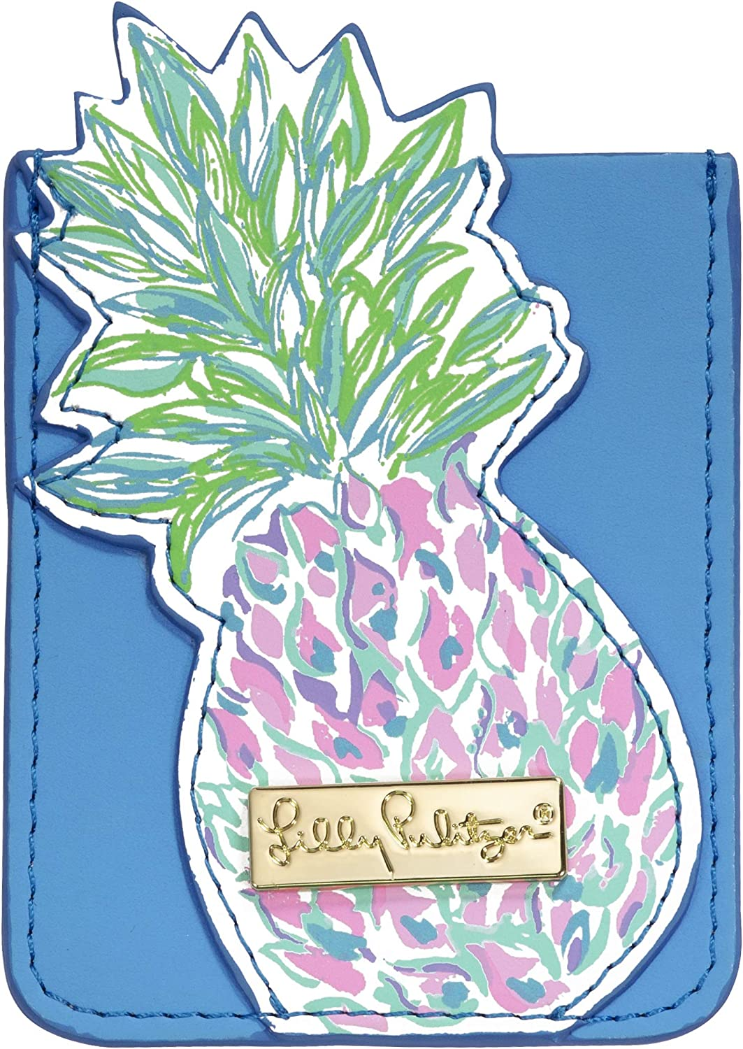 Lilly Pulitzer Leatherette Adhesive Tech Pocket Card Holder for Smartphone Back, Swizzle Out