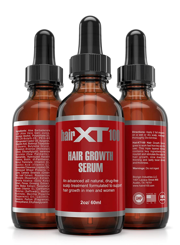 HairXT100 Premium Hair Growth Serum Powerful All Natural Hair Growth Serum for Men Women- Promotes Hair Growth, Fights Hair Loss Nourishes Scalp – 2oz