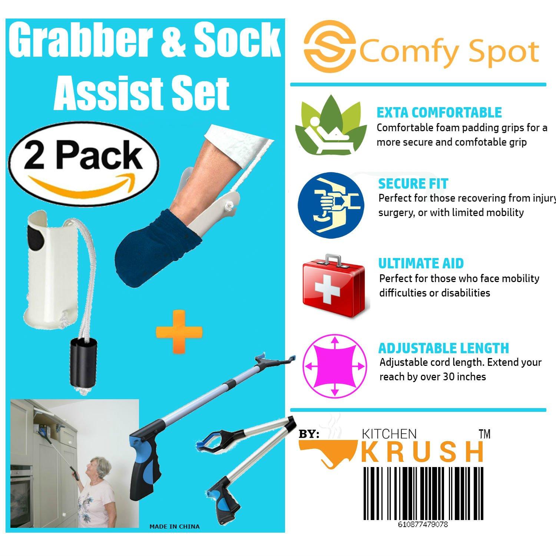 Amazon.com: Grabber Reacher Tool & Sock Aid Kit Assist 2 Pack ...