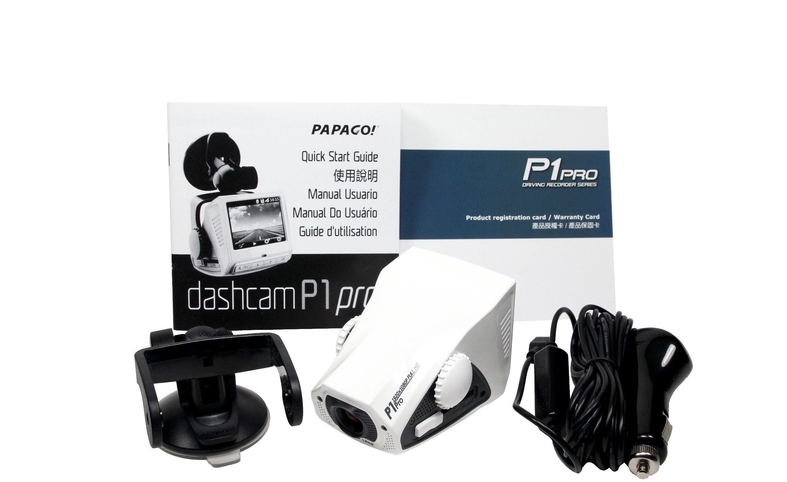 PAPAGO P1PRO-US P1 Pro Full HD 1080P Wide Viewing Angle Dashcam 2.4-Inch LCD (White) by PAPAGO