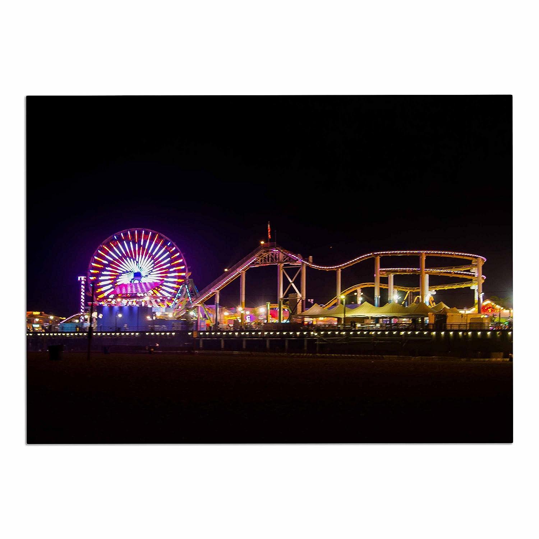 KESS InHouse PO1036ADM02 Juan Paolo Santa Monica Pier Multicolor Black Dog Place Mat, 24  x 15