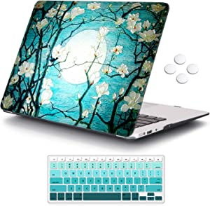 iCasso MacBook Air 13 inch Case (Release 2010-2017 Older Version), Plastic Pattern Hard Shell Protective Case & Keyboard Cover Only Compatible with MacBook Air 13 Inch Model A1369/A1466-Cherry Blossom