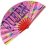 Pride Fans Drag Queen Fan Large Vibrant Bamboo Durable Fabric Loud Clack Rave Fan Festival Fan LGBTQ Rainbow Fan