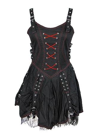 b3ca11b139070 Amazon.com  Dark Star Gothic Punk Medieval Black Red Buckle Corset Dress   Clothing